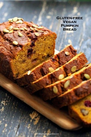 Vegan Gluten free Pumpkin Bread Recipe with cranberries and walnuts. Gum-free, Soy-free. Can be made oat-free. | VeganRicha.com #vegan #glutenfree#pumpkinbread #veganricha