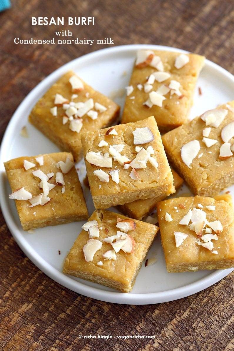Besan Burfi with Condensed Milk. Indian Chickpea flour fudge with Condensed non dairy milk. | VeganRicha.com #vegan #glutenfree #indian #fudge #diwali
