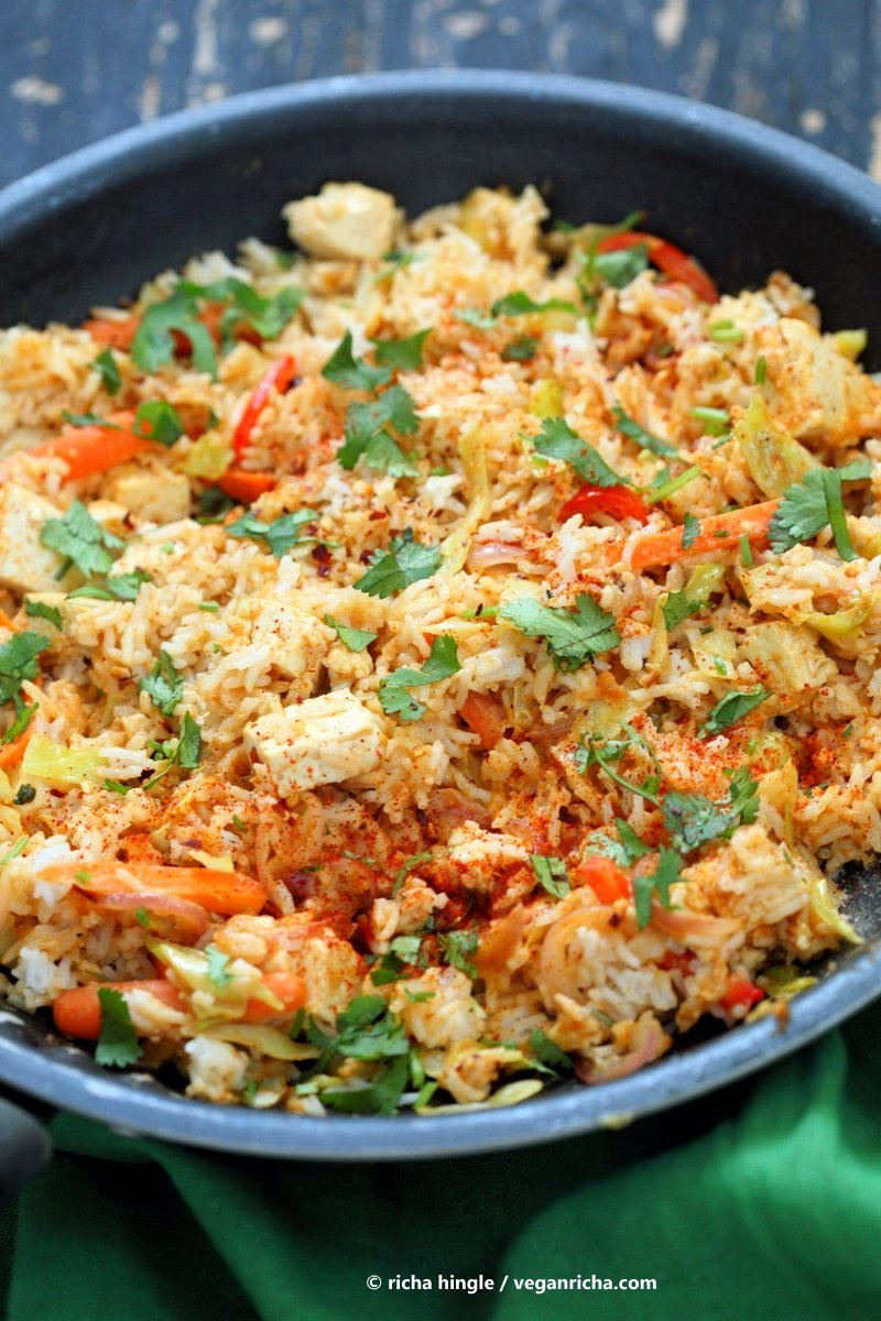 Peanut sauce fried rice vegan richa peanut sauce fried rice with tofu carrots red bell pepper cabbage and cilantro ccuart Choice Image