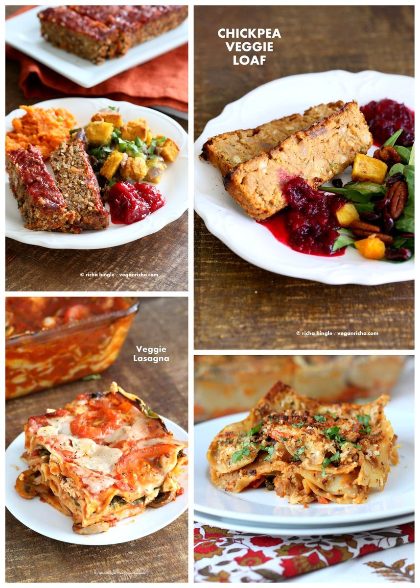 Vegan Holiday Main Entree Recipes | VeganRicha.com #LentilLoaf #Lasagna #vegan #recipe