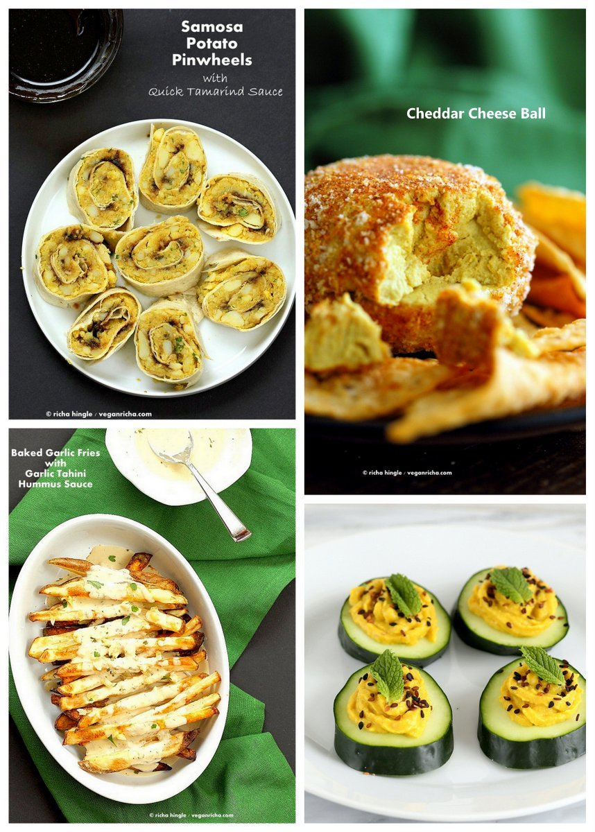 Vegan Holiday Appetizers | VeganRicha.com #cheeseball #pinwheels #deviledcucumber #vegan #recipe