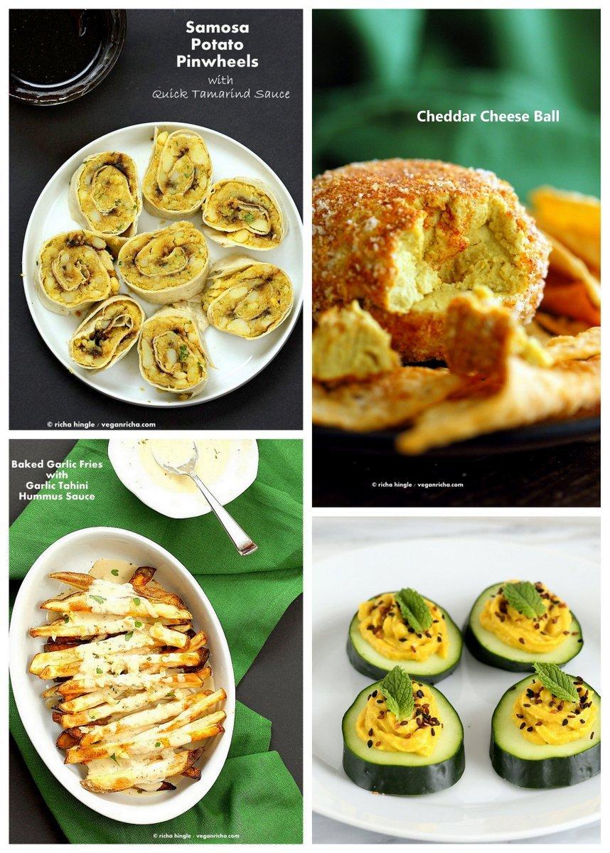 Vegan Holiday Appetizers | VeganRicha.com #cheeseball #pinwheels #deviledcucumber #vegan #recipe