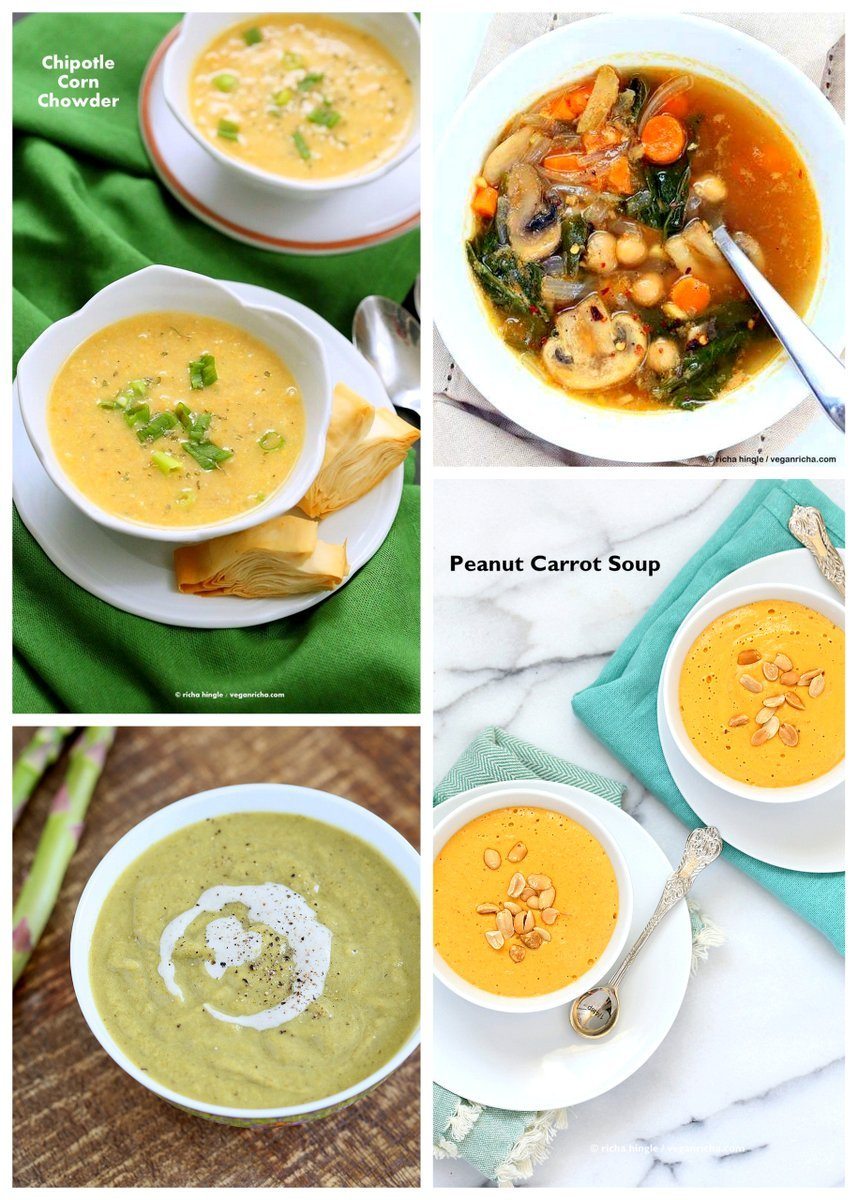 Vegan Soup Recipes for the Holidays | VeganRicha.com #carrotPeanutSoup #cornChowder #vegan #soup #recipe