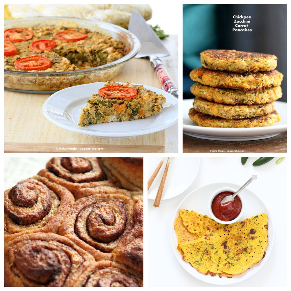 Vegan Holiday Brunch Recipes Vegan Holiday Breakfast Recipes ! VeganRicha.com #vegan #breakfast #vegan #frittata #pancakes