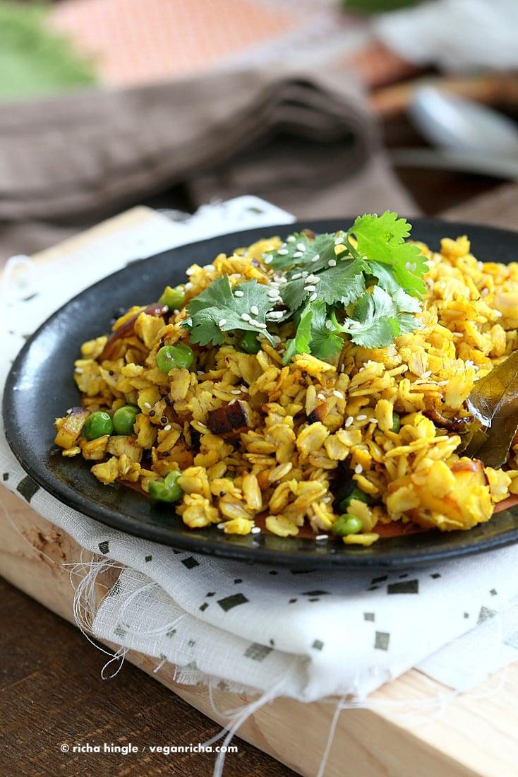 Savory Oats Hash - Indian Oats Poha Upma - Savory Breakfast Oats with veggies and nuts | VeganRicha.com #vegan #glutenfree #soyfree #recipe from Vegan Richa's Indian Kitchen Cookbook