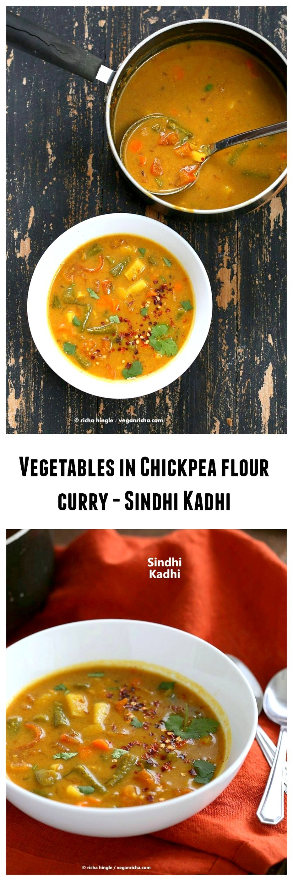 Vegetables in Chickpea flour Sauce - Sindhi Kadhi | VeganRicha.com #vegan #Indian #main #soyfree #glutenfree #recipe #chickpeaflour