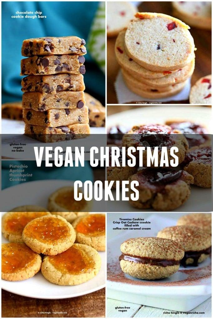 Vegan Christmas Cookies Recipes ! VeganRicha.com #vegan #christmas #holiday #cookies