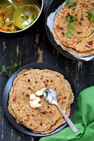 Lauki Paratha - Spiced Opo Squash / Zucchini Wheat Flatbread . Easy Indian flatbread. Yeast-free, Whole grain | VeganRicha.com #vegan #Indian #recipe #veganricha #glutenfree
