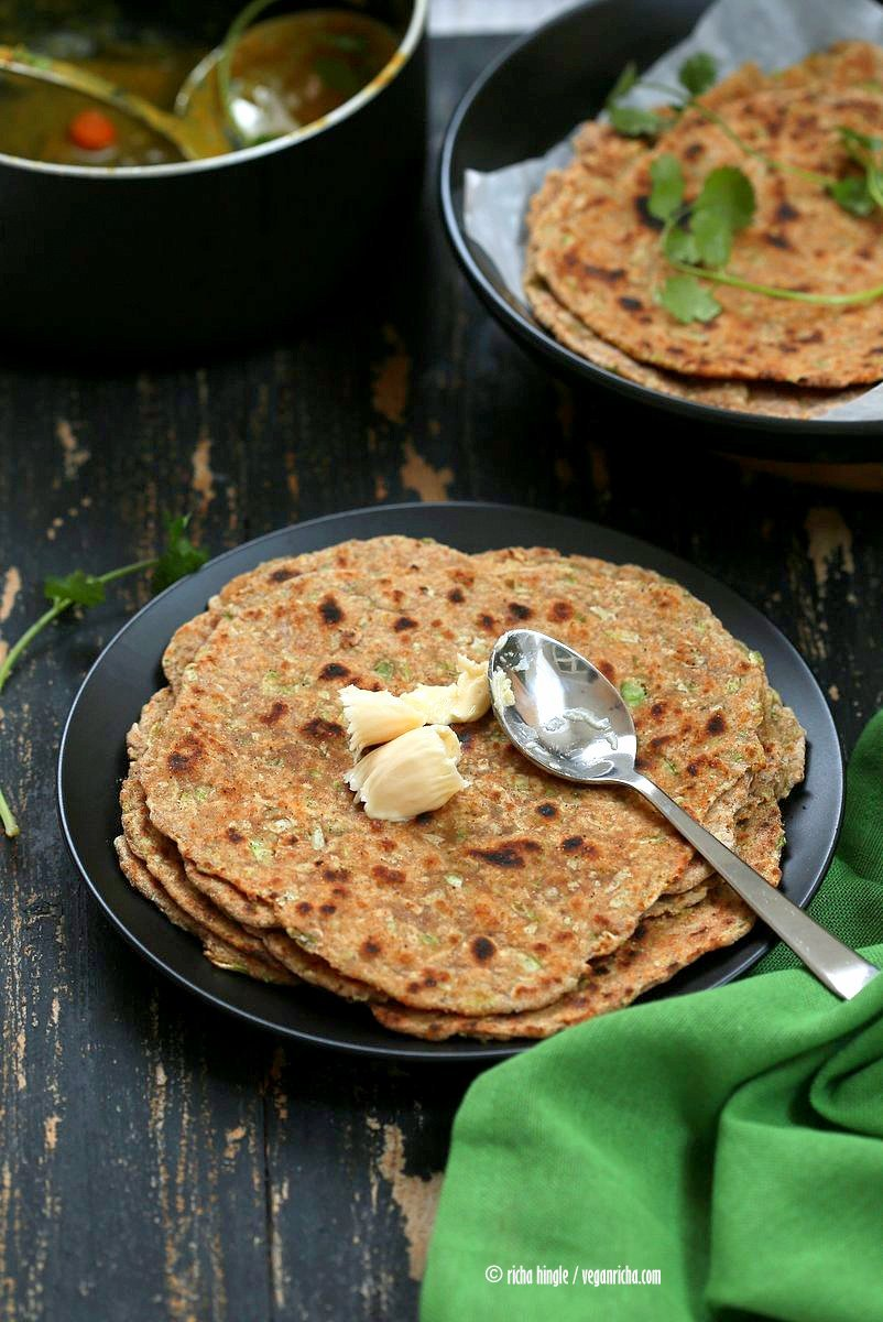 Lauki Paratha - Spiced Opo Squash / Zucchini Wheat Flatbread . Easy Indian flatbread. Yeast-free, Whole grain   VeganRicha.com #vegan #Indian #recipe