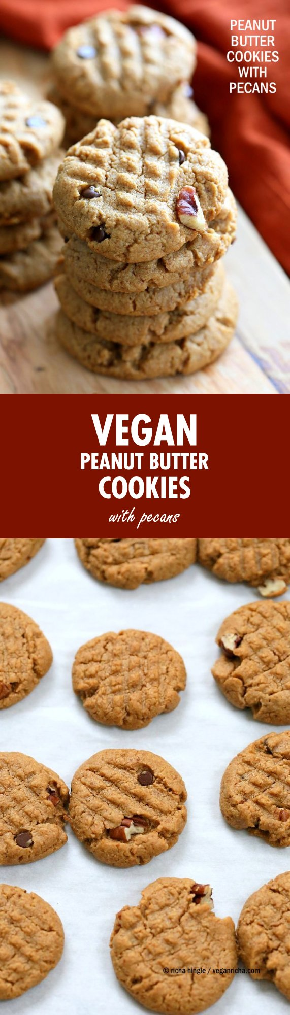 Vegan Peanut Butter Cookies with Pecans and Chocolate chips. Pecans add a buttery flavor to these soft nut Butter cookies. Peanut / Almond Butter Cookies. | VeganRicha.com #vegan #cookie #peanutbutter