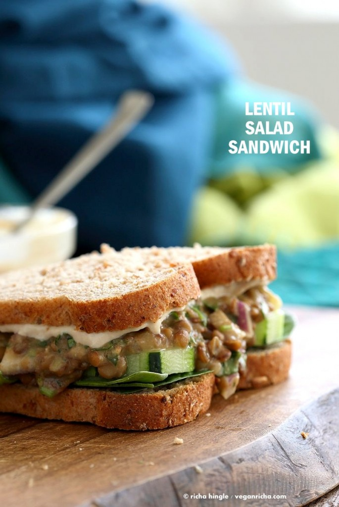Falafel Spice Lentil Salad Sandwich with lemony tahini dressing. Lentils spiced with falafel spices & pickles serves in sandwich or pita bread. | VeganRicha.com #lentils #sandwich #vegan #recipe
