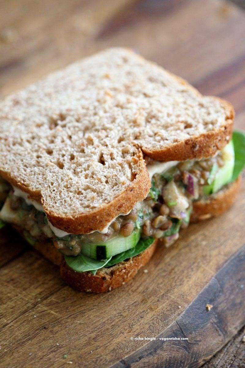 Falafel Spice Lentil Salad Sandwich with lemony tahini dressing. Lentils spiced with falafel spices & pickles, serve in sandwich or pita bread.   VeganRicha.com #lentils #sandwich #vegan #recipe