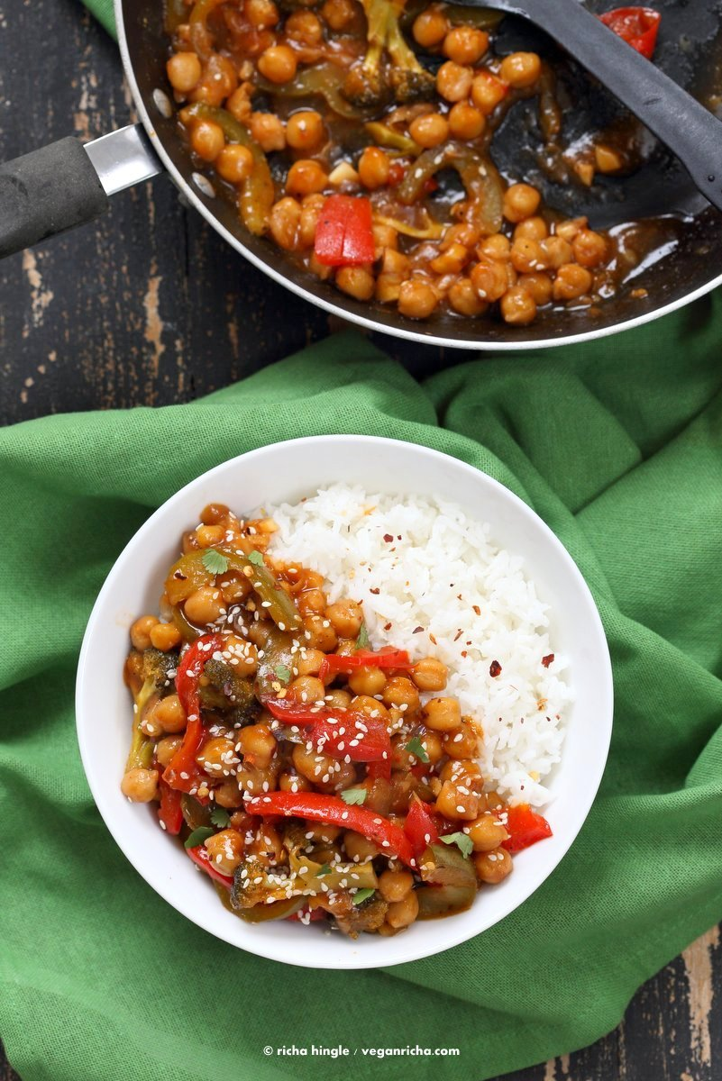 Sweet and Sour Chickpeas, Peppers, and Broccoli. Easy Weeknight One Pot Protein filled Meal. | VeganRicha.com #vegan #glutenfree #chickpeas