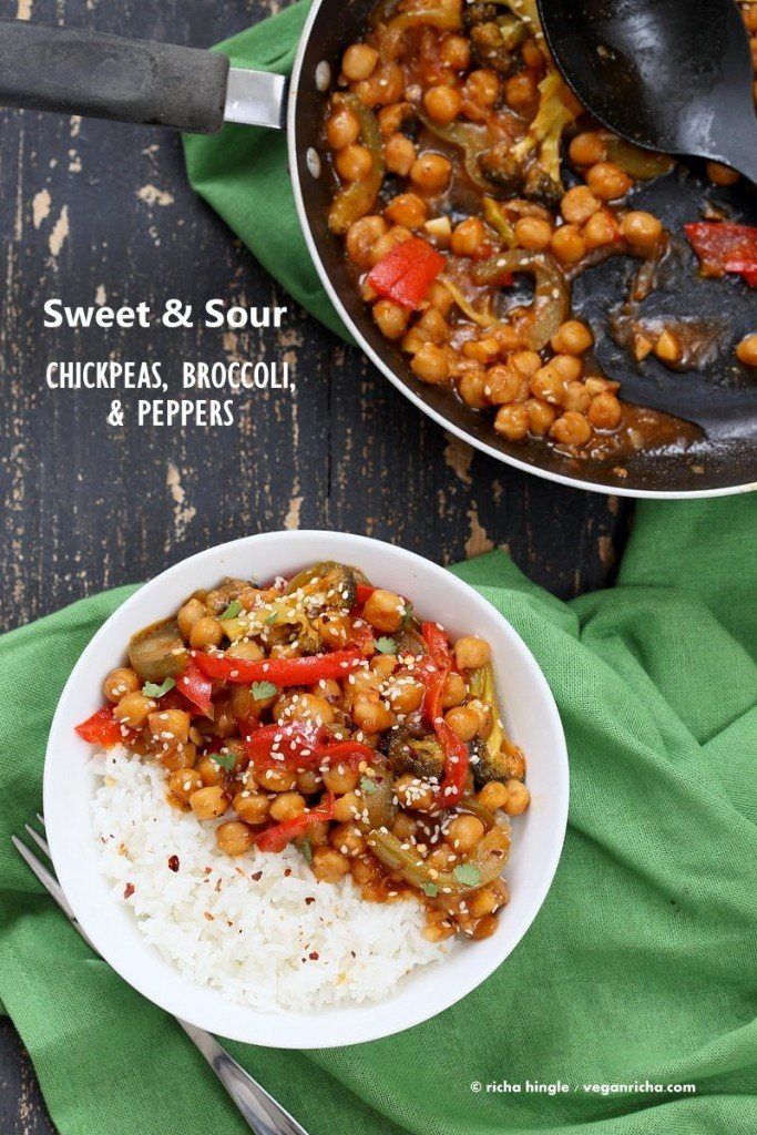 25 vegan chinese recipes vegan richa sweet and sour chickpeas peppers and broccoli easy weeknight one pot protein filled forumfinder Images