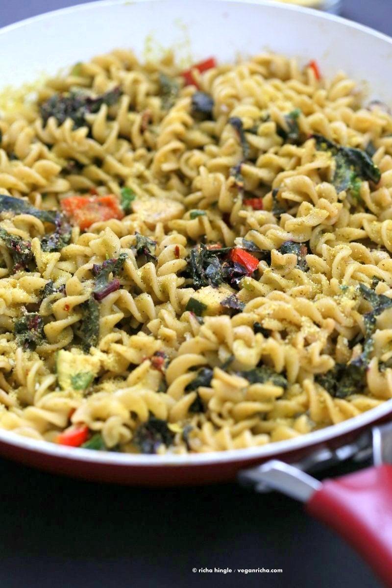 Zesty Pesto Pasta with Rainbow Chard, Zucchini, Red bell pepper   VeganRicha.com #vegan #pasta