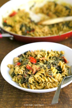 Zesty Walnut Pesto Pasta with Rainbow Chard, Zucchini, Red bell pepper