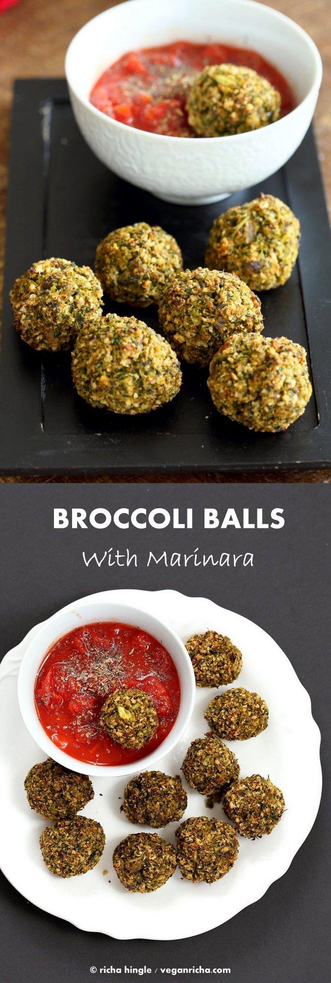 Vegan Broccoli Balls. Broccoli Cheese Balls, veggie / meat balls. Serve with marinara, or over spaghetti or in a sub.| VeganRicha.com vegan recipe