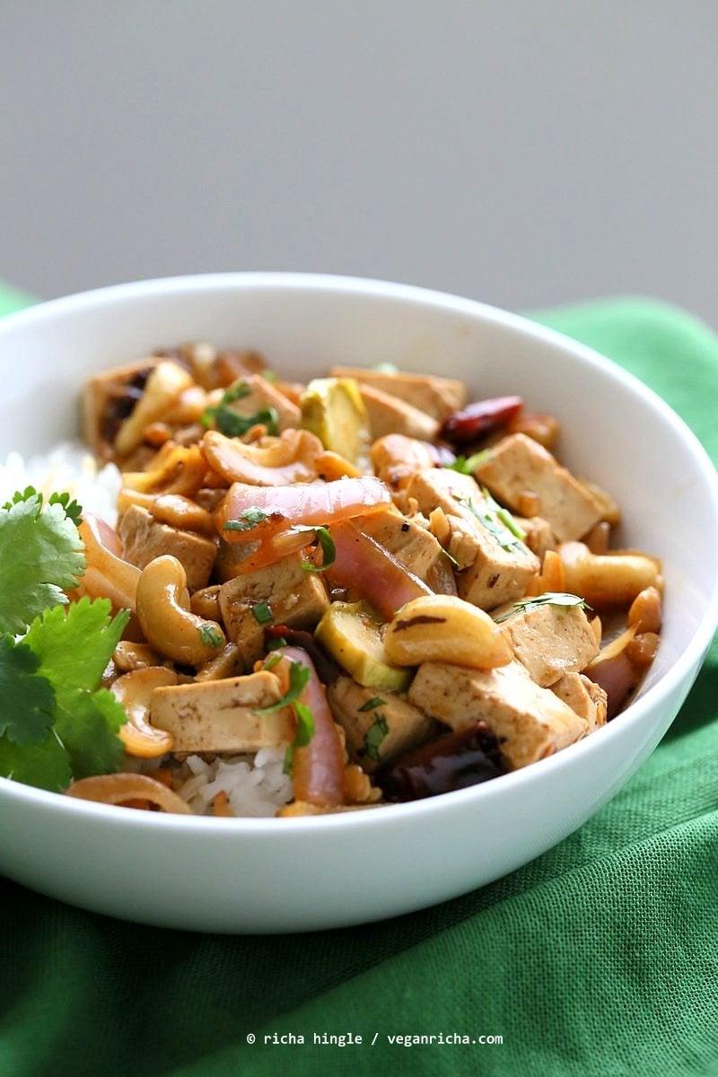 Cashew Tofu Stir Fry. Vegan Thai Cashew Delight Recipe with Tofu and Veggies. Easy One Pot weeknight meal. Serve with rice or grains of choice. VeganRicha.com Vegan gluten-free Recipe
