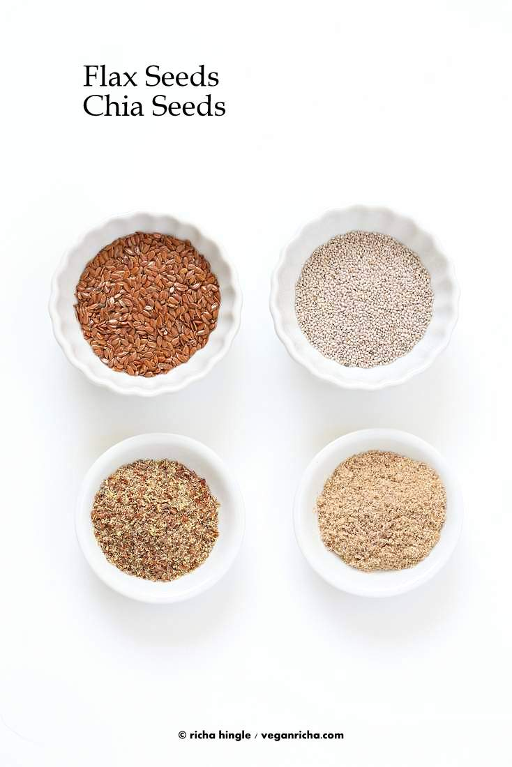 How to make a flax egg or Chia egg | VeganRicha.com #eggsubstitute #flaxegg #chiaegg