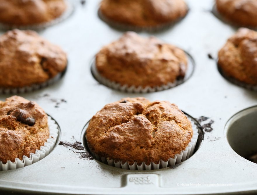 Vegan Gluten free Banana Muffins . Easy Breakfast Muffins. Almond flour, Oat flour, 2 bananas and large Chocolate chunks. Glutenfree Breakfast Muffin Recipe | VeganRicha.com