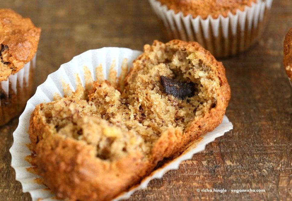 Vegan Gluten free Banana Muffins . Easy Breakfast Muffins. Almond flour, Oat flour, 2 bananas and large Chocolate chunks. Glutenfree Breakfast Muffin Recipe | VeganRicha.com #vegan #glutenfree #muffin