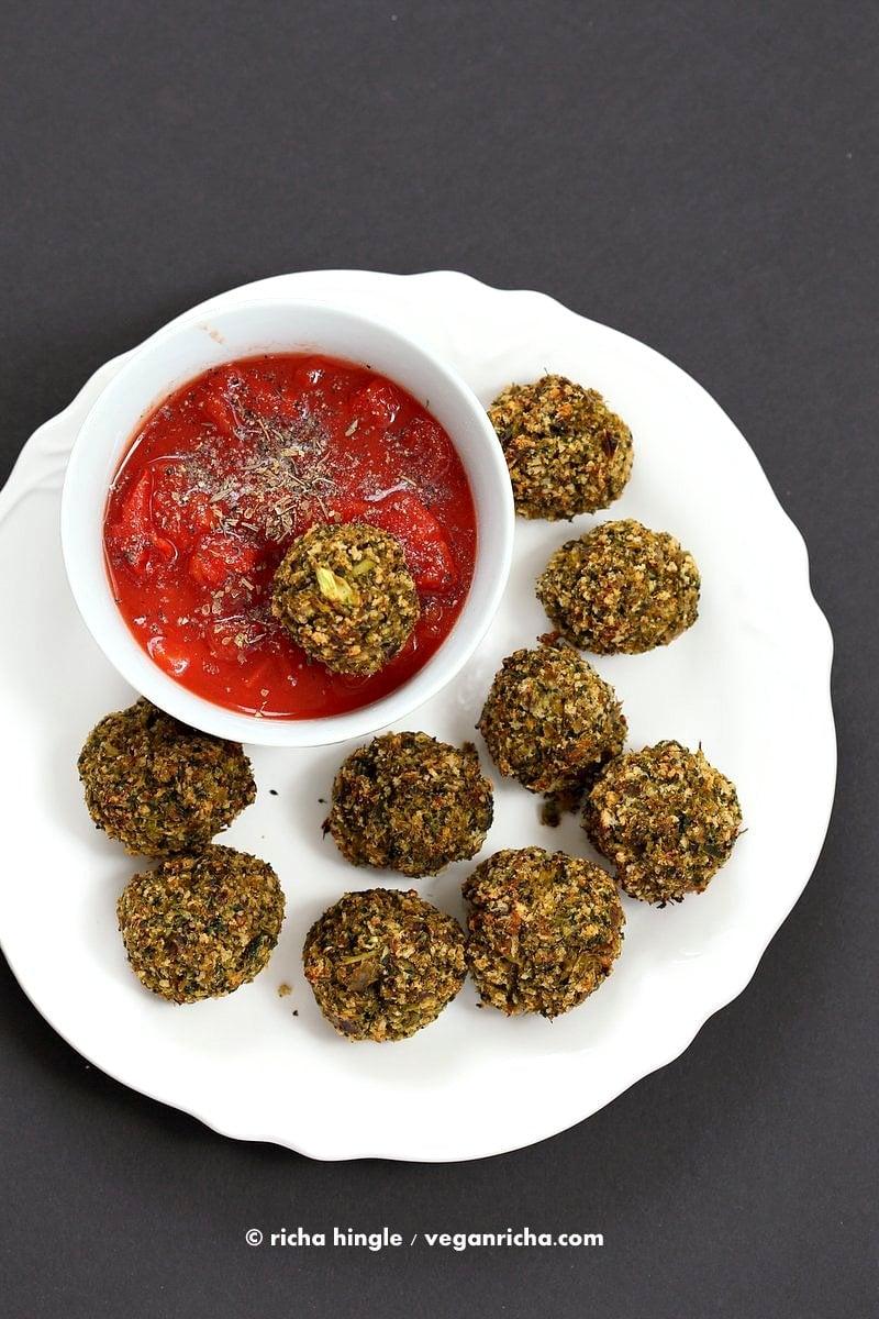 Vegan Broccoli Balls. Broccoli Cheese Balls, veggie / meat balls. Serve with marinara, or over spaghetti or in a sub.| VeganRicha.com #vegan #recipe