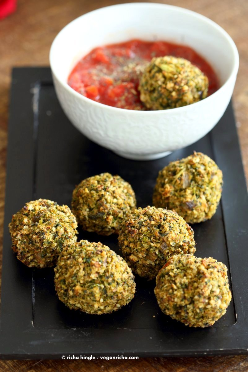 40 vegan party food recipes vegan richa vegan broccoli balls broccoli cheese balls veggie meat balls serve with marinara forumfinder Choice Image