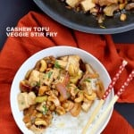 Cashew Tofu Stir Fry. Vegan Cashew Delight Recipe with Tofu and Veggies. Easy One Pot weeknight meal. Serve with rice or grains of choice. VeganRicha.com Vegan gluten-free Recipe #glutenfree #veganricha #vegan