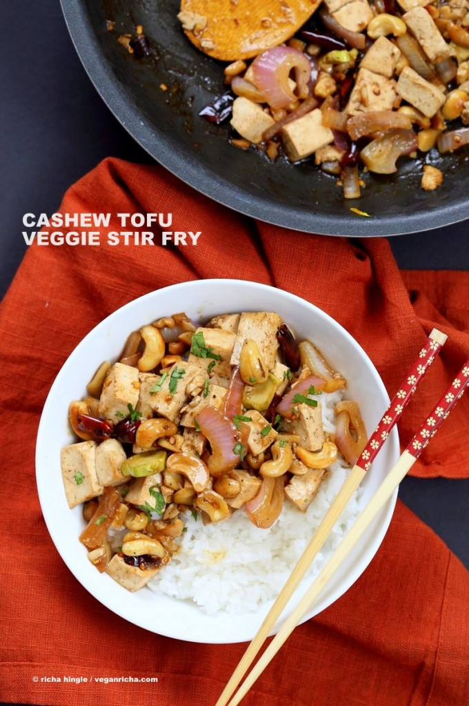 Cashew Tofu Stir Fry. Vegan Cashew Delight Recipe with Tofu and Veggies. Easy One Pot weeknight meal. Serve with rice or grains of choice. VeganRicha.com Vegan gluten-free Recipe