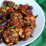 Crispy Kung Pao Cauliflower. Cauliflower battered and baked and tossed in spicy kung pao sauce. | VeganRicha.com #vegan #appetizer #snack #cauliflower #kungpao #recipe