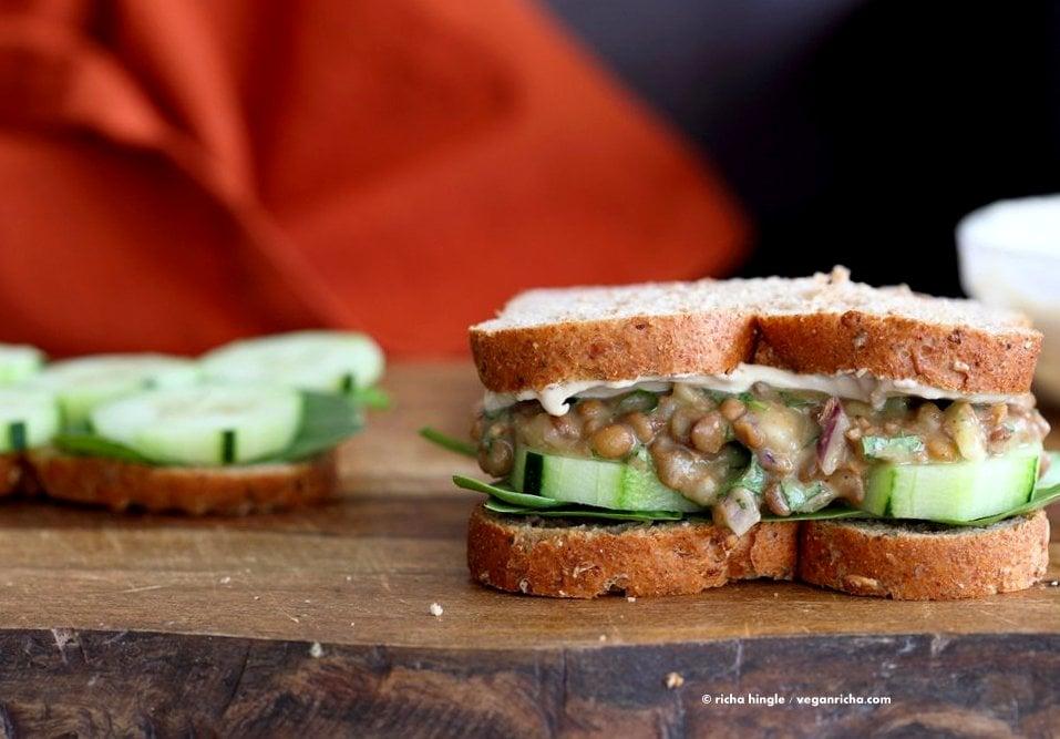 Falafel Spice Lentil Salad Sandwich with lemony tahini dressing. Lentils spiced with falafel spices & pickle, serve in sandwich or pita bread. | VeganRicha.com #lentils #sandwich #vegan #recipe