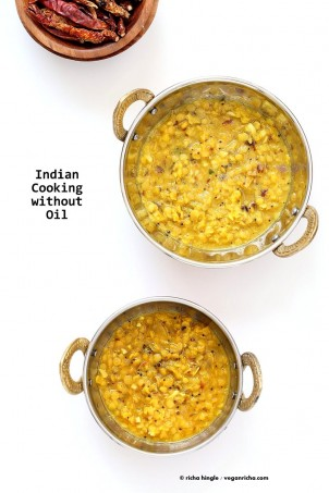 How to Cook Indian Food without Oil. Make Tadka/tempering, roast whole spices without Oil. How to make Dals, curries with no Oil. Oil-free Indian cooking | VeganRicha.com #glutenfree #veganricha #vegan