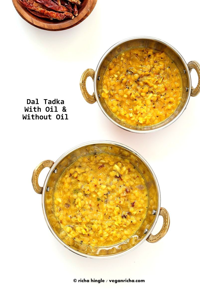 How to Cook Indian Food without Oil. Make Tadka/tempering, roast whole spices without Oil. How to make Dals, curries with no Oil. Oil-free Indian cooking | VeganRicha.com #vegan #Indian #Oilfree #Cooking