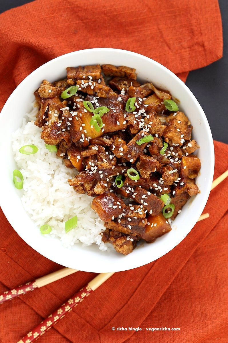 Tempeh Cauliflower Butternut in Teriyaki Sauce. This teriyaki sauce is date sweetened and works amazingly with butternut squash and vegetables. #Vegan #Glutenfree #Recipe VeganRicha.com