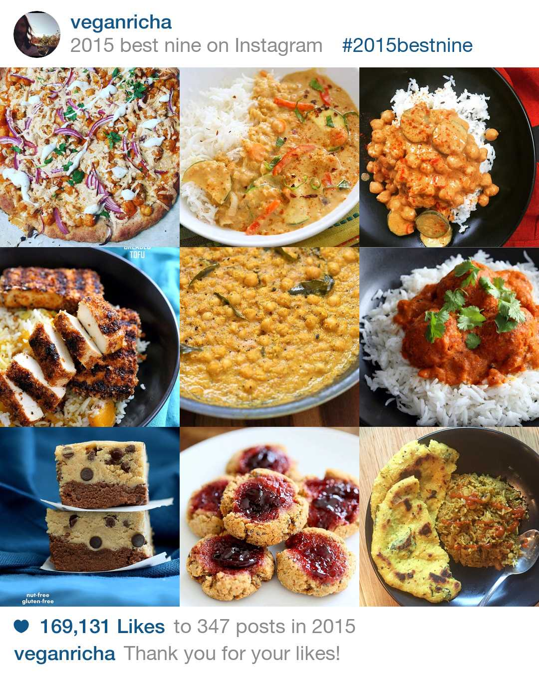 top 9 Posts on Instagram.com/VeganRicha