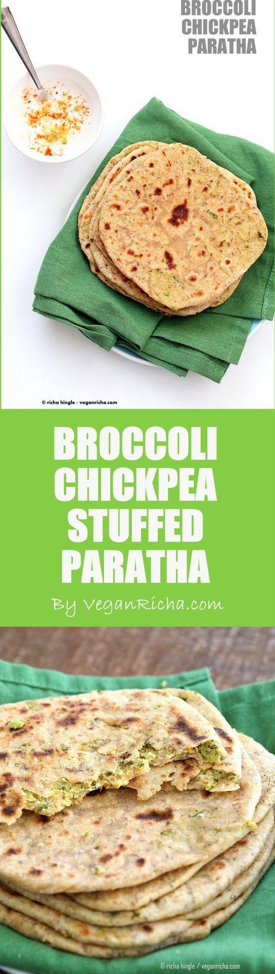 Broccoli Chickpea Stuffed Flatbread - Broccoli Paratha. Shredded broccoli, mashed chickpeas and spices stuffed in a paratha flatbread.   VeganRicha.com Vegan Indian Recipe Soyfree