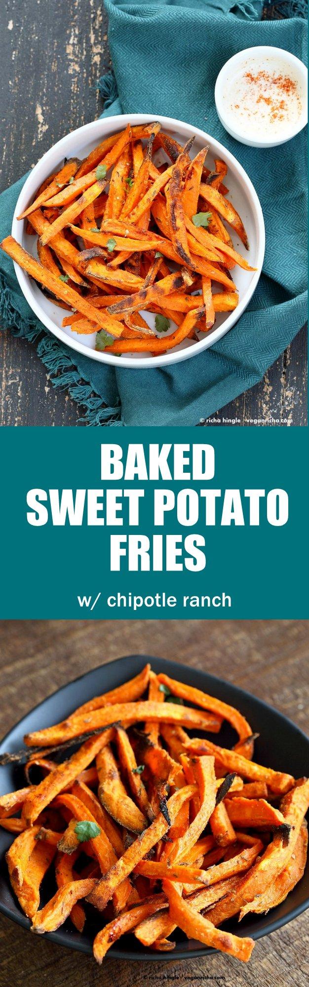 Baked Sweet Potato Fries with Vegan Chipotle Ranch. Easy Crisp Sweet Potato Fries served with dairy free ranch. VeganRicha.com #Vegan #Appetizer #Recipe #Glutenfree #Soyfree