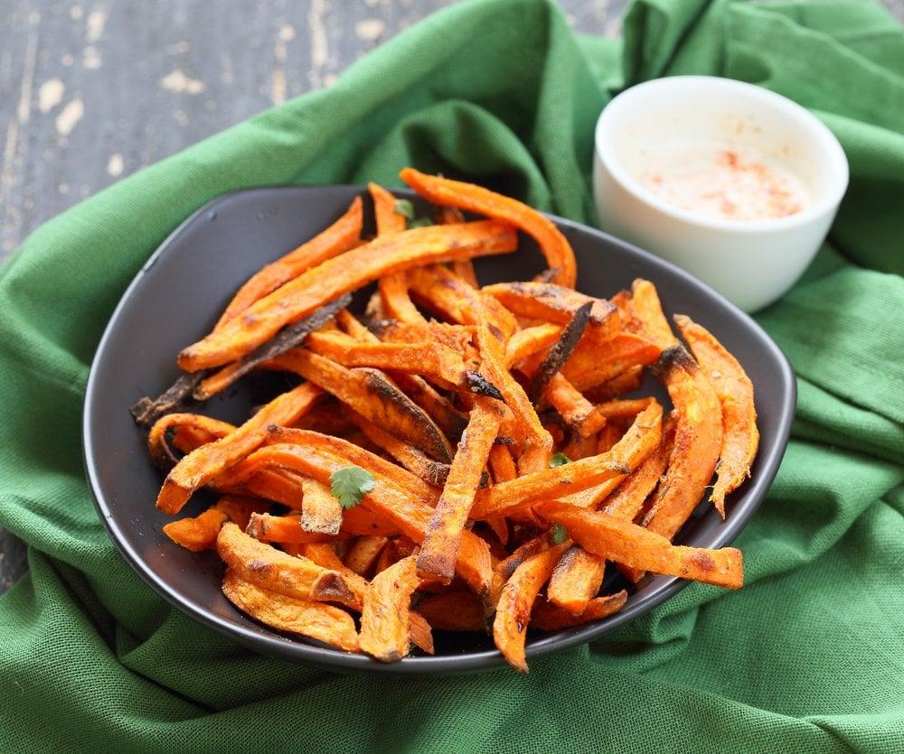 Baked Sweet Potato Fries with Vegan Chipotle Ranch. Easy Crisp Sweet Potato Fries served with dairy free ranch. Vegan Appetizer Recipe Glutenfree Soyfree | VeganRicha.com