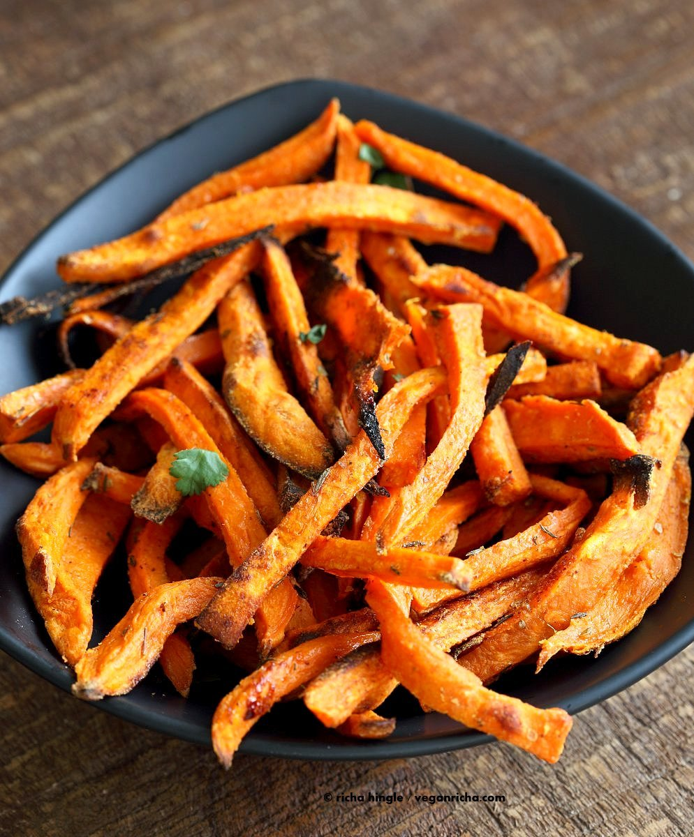 Baked Sweet Potato Fries with Vegan Chipotle Ranch. Easy Crisp Sweet Potato Fries served with dairy free ranch. Vegan Appetizer Recipe Glutenfree Soyfree | VeganRicha.com