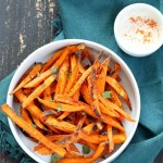 Baked Sweet Potato Fries with Vegan Chipotle Ranch. Easy Crisp Sweet Potato Fries served with dairy free ranch. VeganRicha.com #Vegan #Appetizer #Recipe #Glutenfree #Soyfree #veganricha