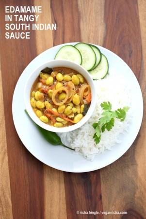 Edamame in Tangy South Indian Curry - Edamame Kara Kuzambu. Use other beans or chickpeas in this delicious vegan gluten-free Indian curry | VeganRicha.com #glutenfree #veganricha #vegan