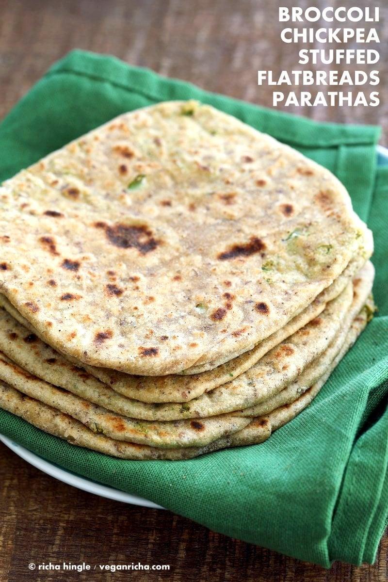 Broccoli Chickpea Stuffed Flatbread - Broccoli Paratha. Shredded broccoli, mashed chickpeas and spices stuffed in a paratha flatbread.   VeganRicha.com #Vegan #Indian #Recipe #Soyfree
