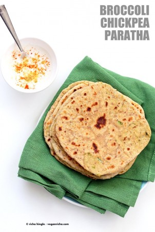Broccoli Chickpea Stuffed Flatbread - Broccoli Paratha. Shredded broccoli, mashed chickpeas and spices stuffed in a paratah flatbread. | VeganRicha.com Vegan Indian Recipe Soyfree #glutenfree #veganricha #vegan
