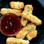 Crispy Tofu with Sweet Chili Sauce. Cruncy Crispy Breaded Tofu Strips with Sweet chili dipping sauce. Vegan Appetizer Recipe for Super bowl Gameday | VeganRicha.com #glutenfree #veganricha #vegan