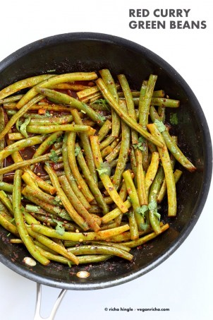 Red Curry Green Beans - Green Beans Stir fry with red curry paste, kaffir lime, sugar and chile. Pad Prik King Vegan Glutenfree Soyfree Recipe | VeganRicha.com #glutenfree #veganricha #vegan