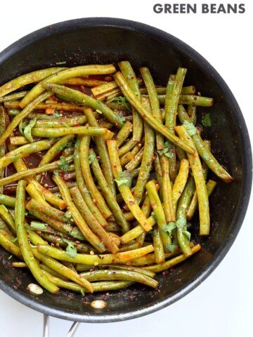 Red Curry Green Beans - Green Beans Stir fry with red curry paste, kaffir lime, sugar and chile. Pad Prik King Vegan Glutenfree Soyfree Recipe   VeganRicha.com #glutenfree #veganricha #vegan
