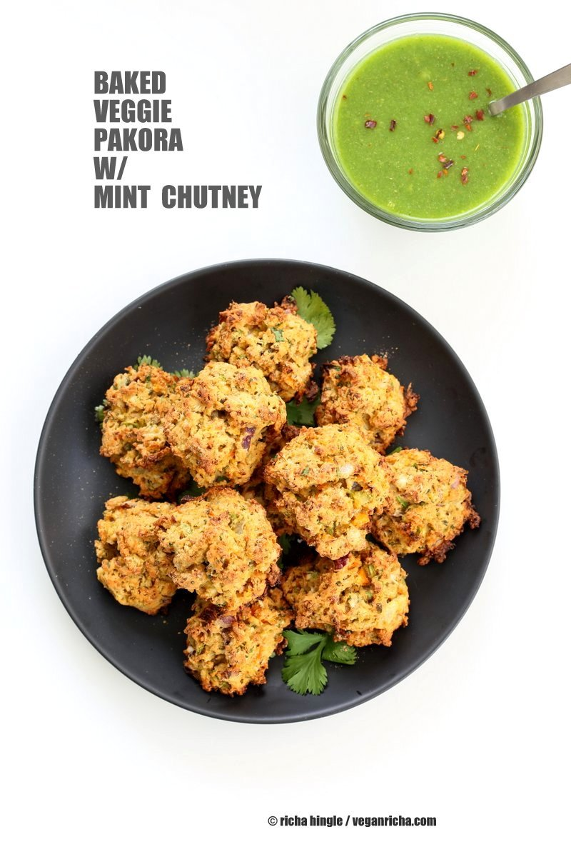 Broccoli, Cauliflower, potatoes, carrots and greens in this Mixed Vegetable Pakora. Baked Veggie Pakore Bhajjiya. Vegan Soyfree Recipe. Easily Glutenfree | VeganRicha.com