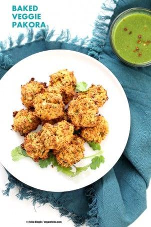 Broccoli, Cauliflower, potatoes, carrots and greens in this Mixed Vegetable Pakora. Baked Veggie Pakore Bhajjiya. Vegan Soyfree Recipe. Easily Glutenfree | VeganRicha.com #glutenfree #veganricha #vegan