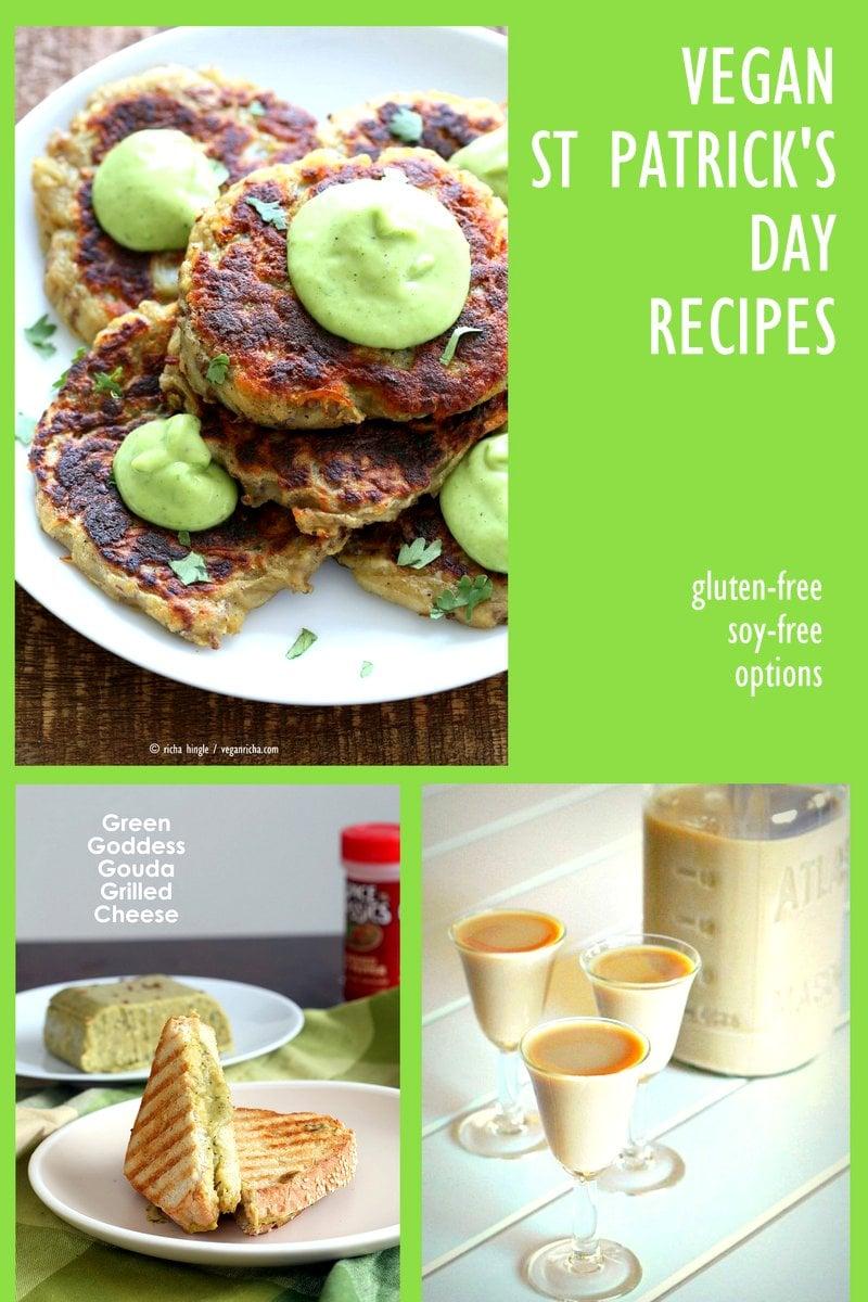 30 Vegan St Patrick's Day Recipes collection. Vegan Irish Recipes and Green things. Potato Cakes, Shamrock shake and more. Gluten-free Options. VeganRicha.com