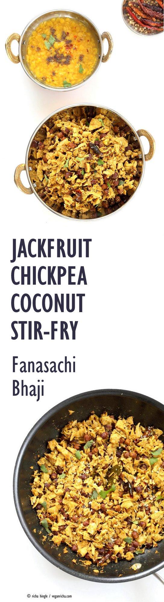 Fanasachi Bhaji - Maharashtrain Jackfruit Brown Chickpea Coconut Stir fry with coconut, sesame, Indian spices. #Vegan #Glutenfree #Soyfree #Side #Recipe.| VeganRicha.com